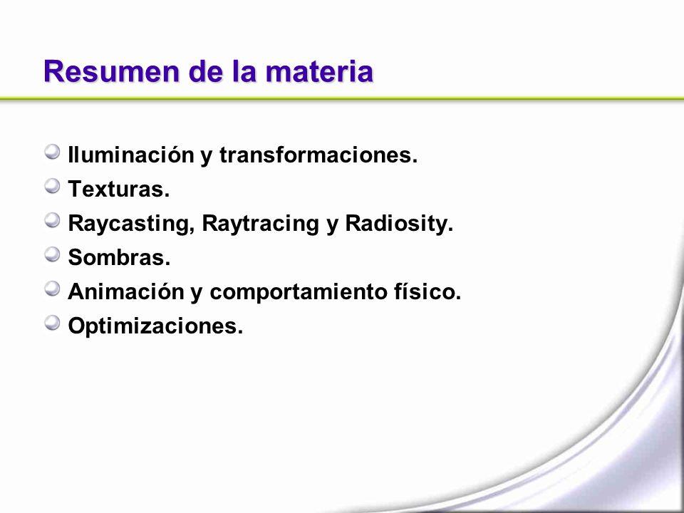 Resumen de la materia Iluminación y transformaciones. Texturas.