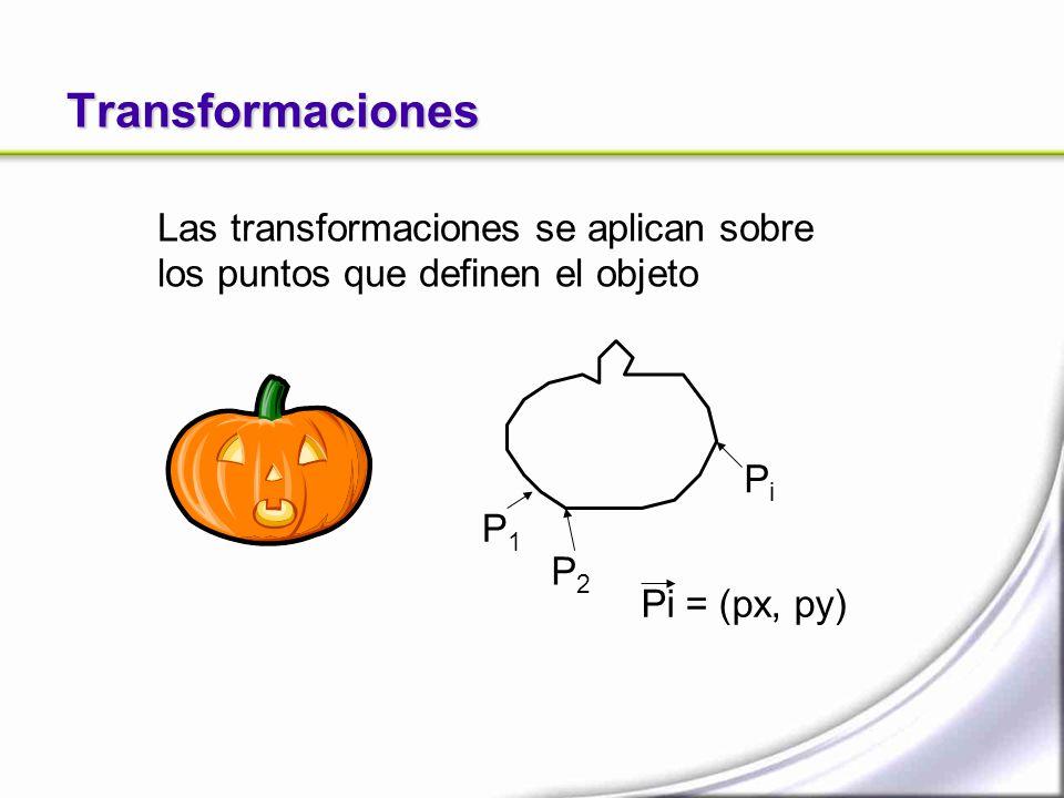 Transformaciones Las transformaciones se aplican sobre