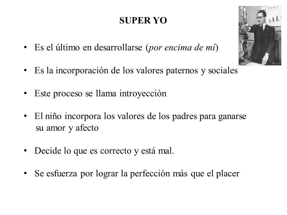 SUPER YO Es el último en desarrollarse (por encima de mí) Es la incorporación de los valores paternos y sociales.