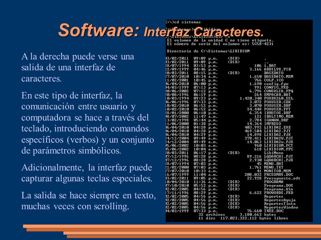 Software: Interfaz Caracteres.