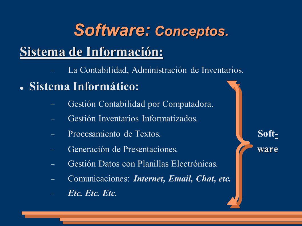 Software: Conceptos. Sistema de Información: Sistema Informático: