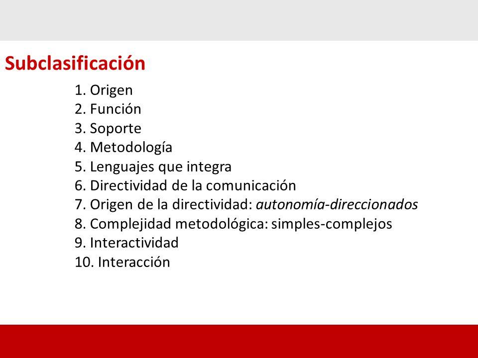 Subclasificación 1. Origen 2. Función 3. Soporte 4. Metodología