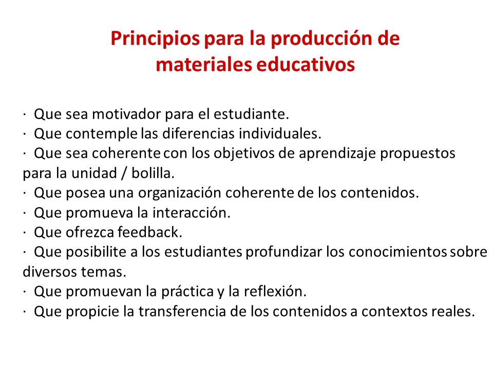 Principios para la producción de materiales educativos