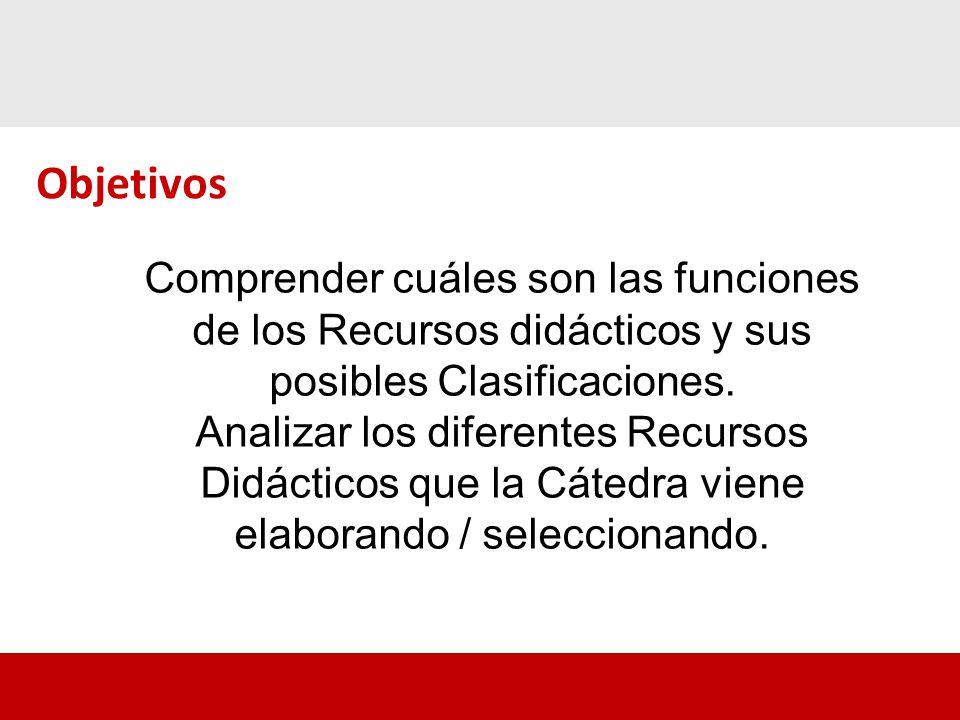 Objetivos Comprender cuáles son las funciones de los Recursos didácticos y sus posibles Clasificaciones.