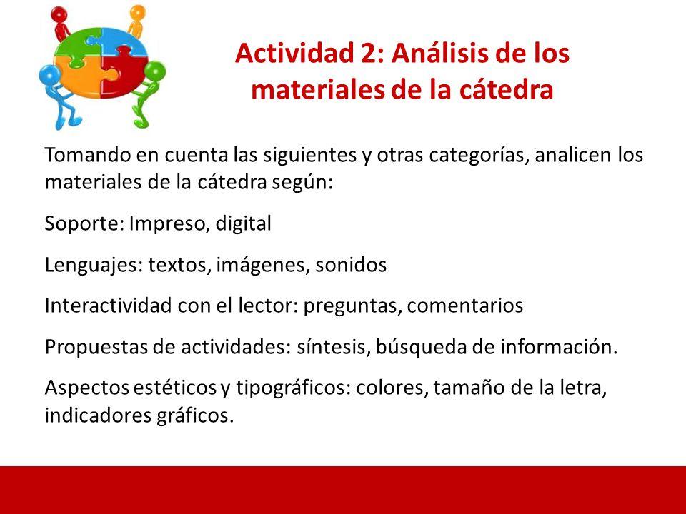 Actividad 2: Análisis de los materiales de la cátedra