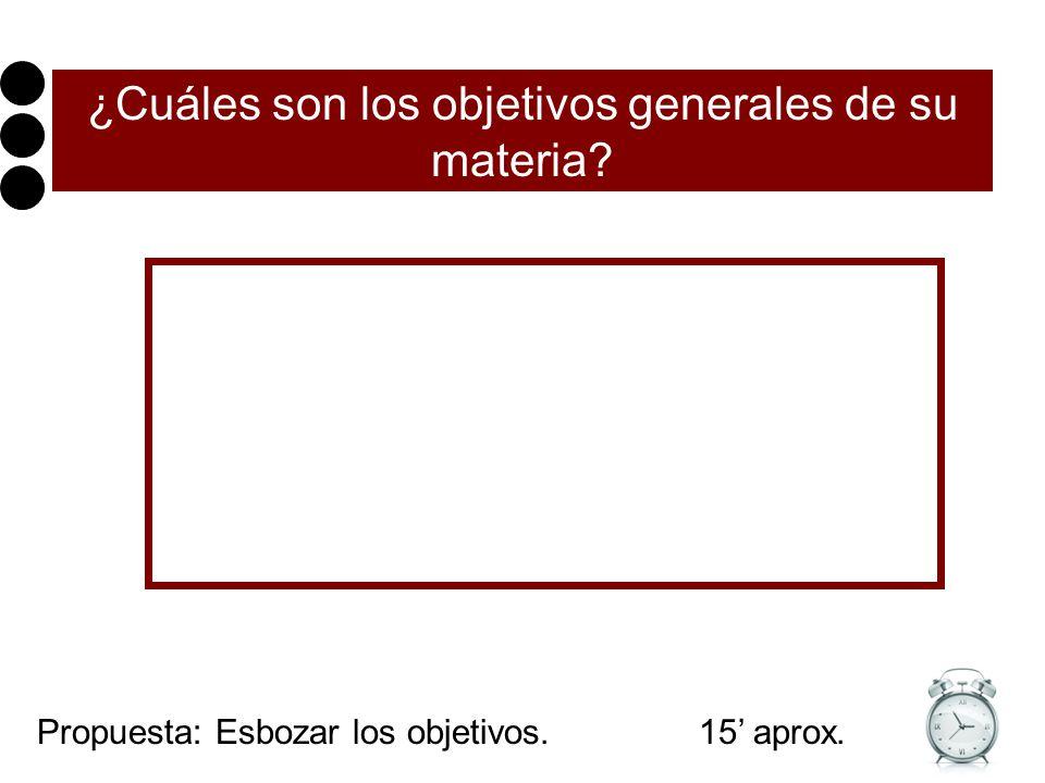¿Cuáles son los objetivos generales de su materia