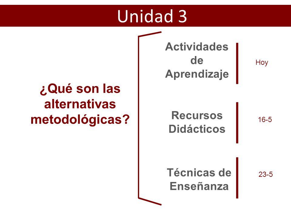 Actividades de Aprendizaje ¿Qué son las alternativas metodológicas