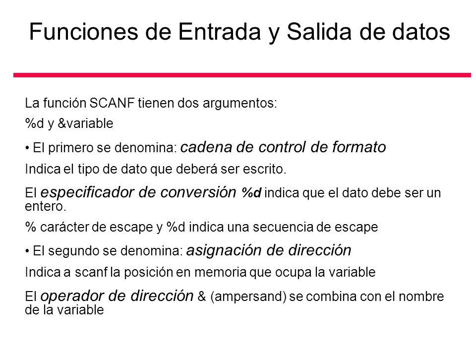 Funciones de Entrada y Salida de datos