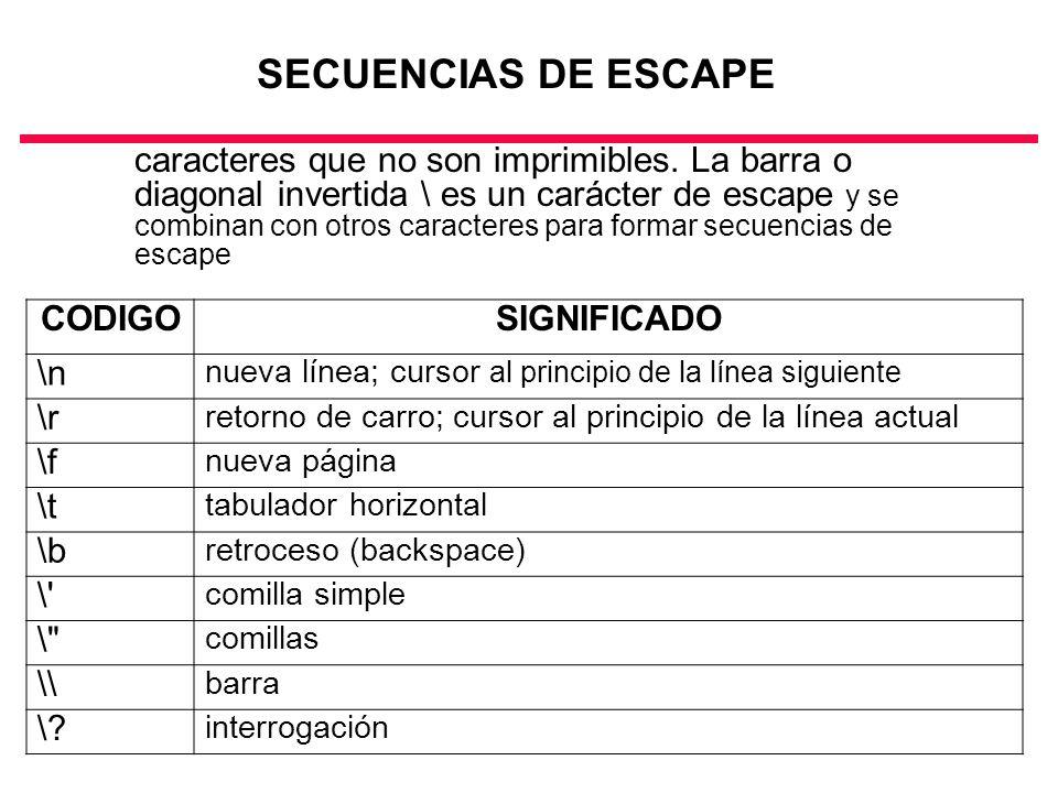 SECUENCIAS DE ESCAPE