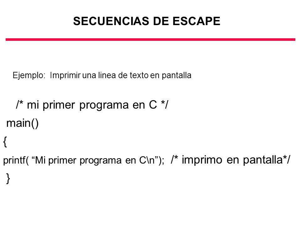 /* mi primer programa en C */ main() {