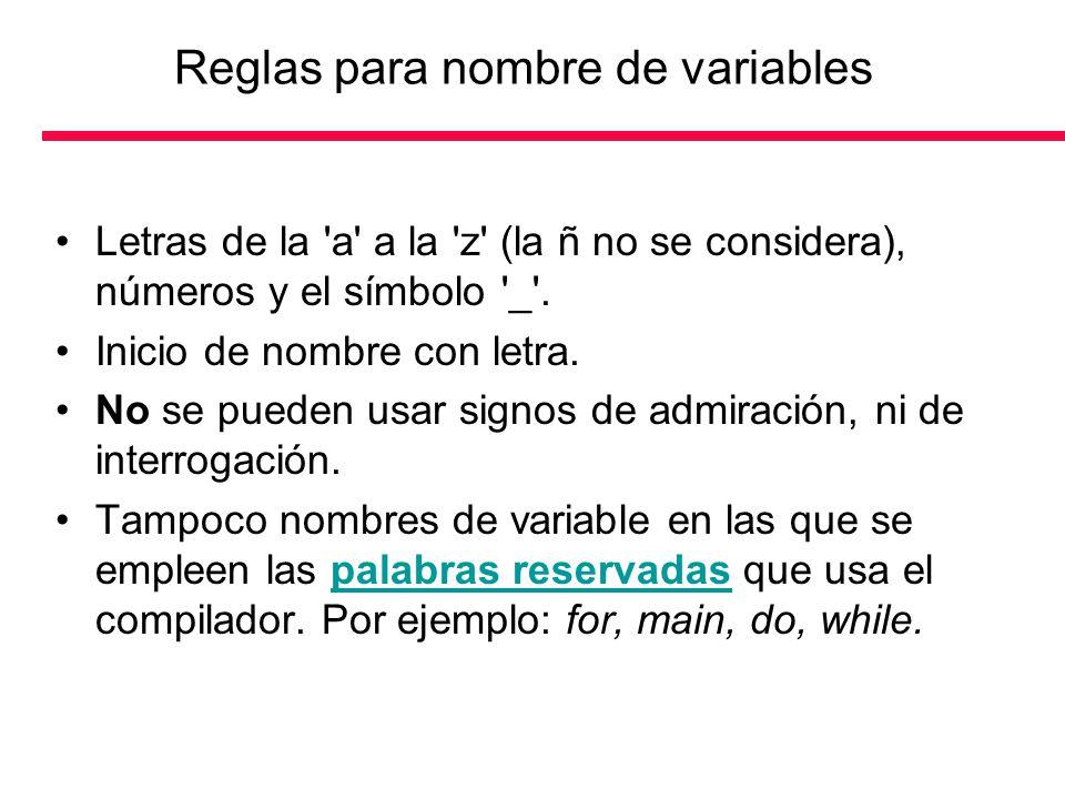 Reglas para nombre de variables