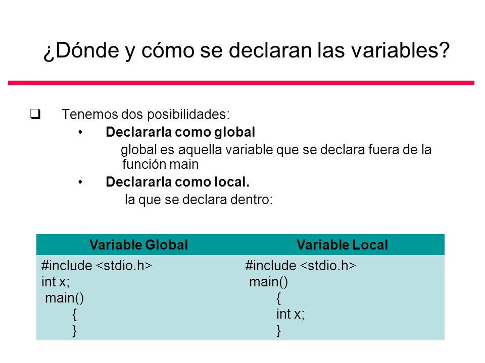 ¿Dónde y cómo se declaran las variables