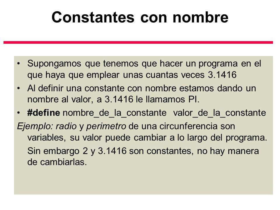 Constantes con nombre Supongamos que tenemos que hacer un programa en el que haya que emplear unas cuantas veces 3.1416.