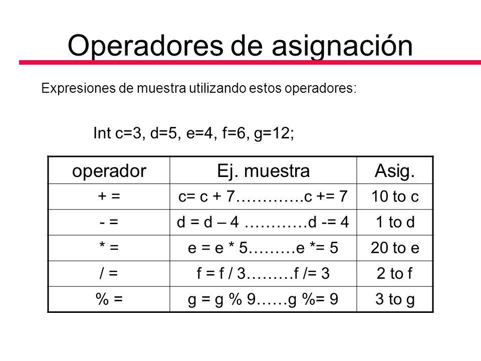 Operadores de asignación