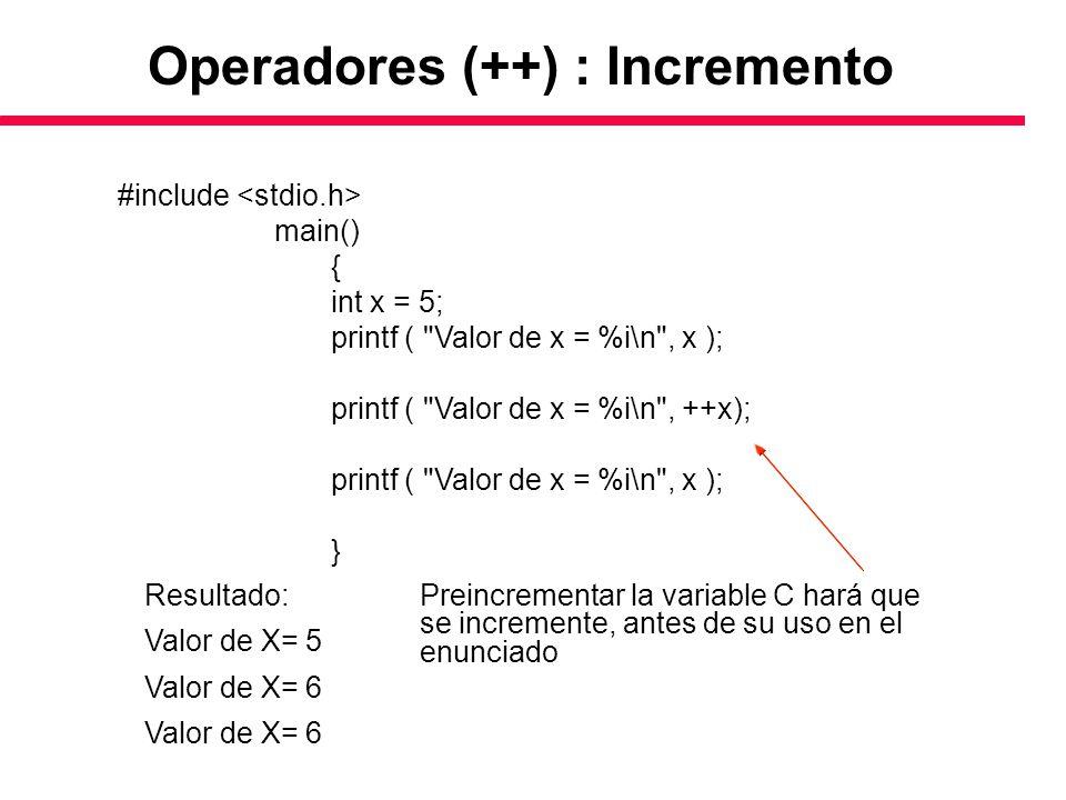 Operadores (++) : Incremento