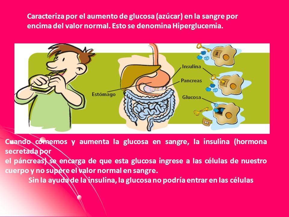 Caracteriza por el aumento de glucosa (azúcar) en la sangre por