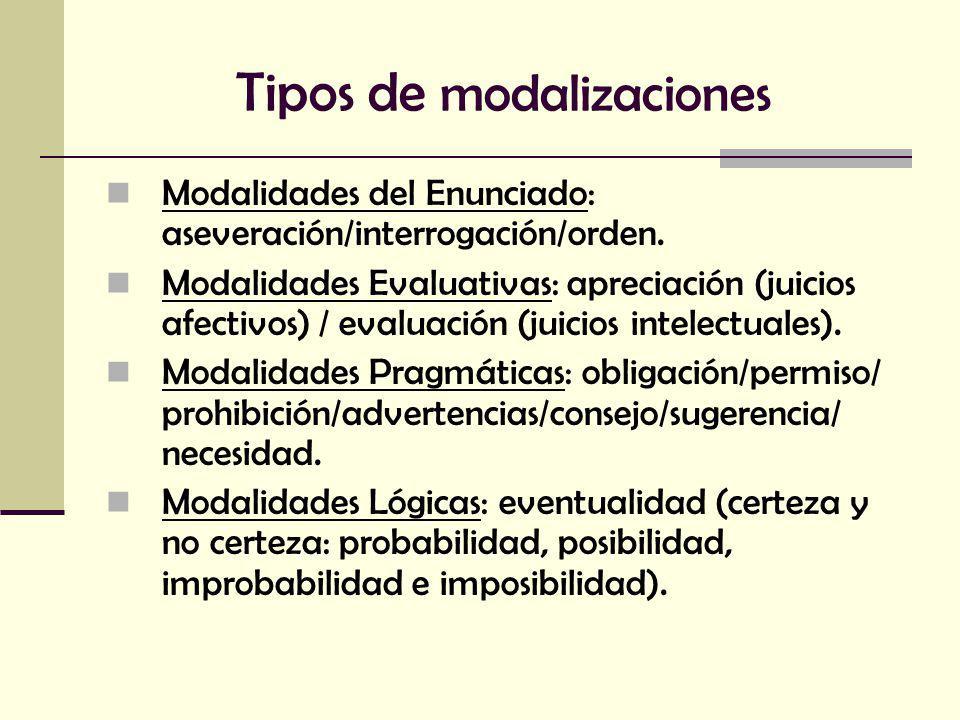 Tipos de modalizaciones