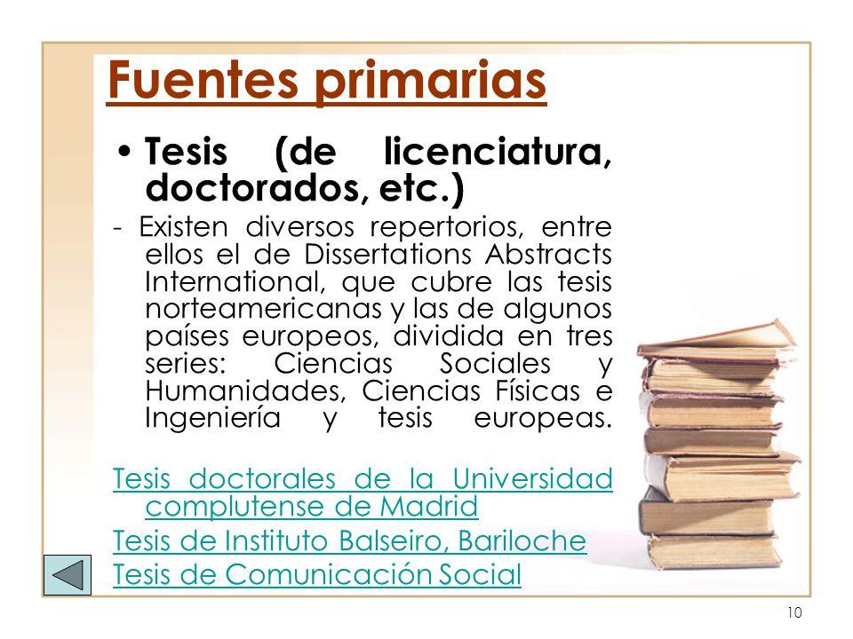 Fuentes primarias Tesis (de licenciatura, doctorados, etc.)