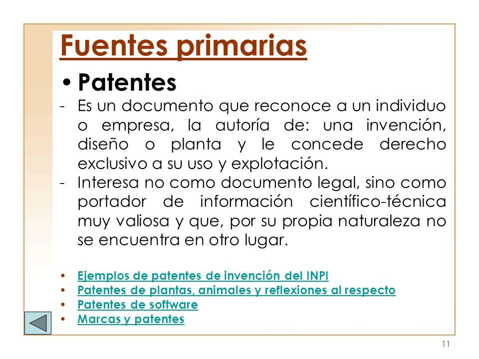 Fuentes primarias Patentes