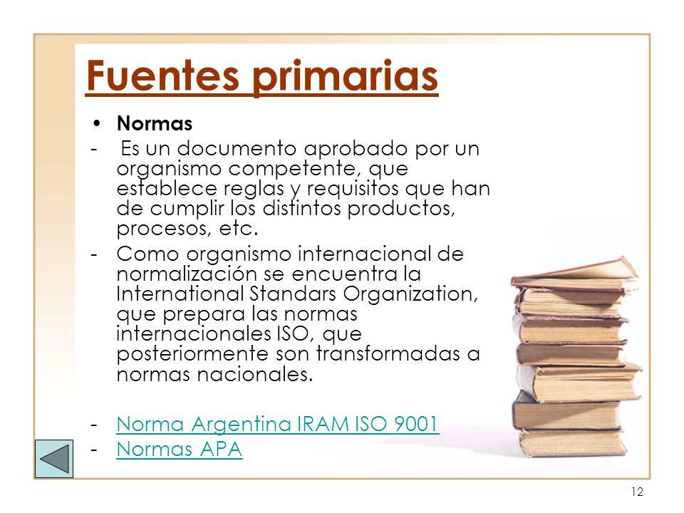 Fuentes primarias Normas