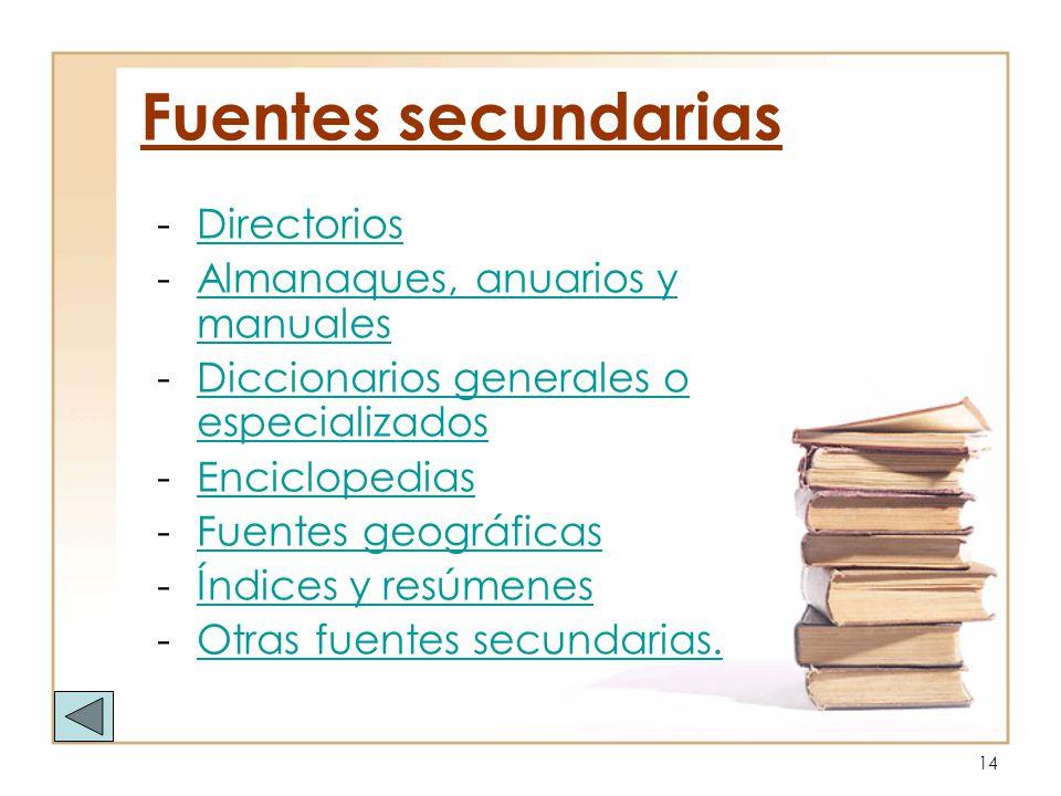 Fuentes secundarias Directorios Almanaques, anuarios y manuales