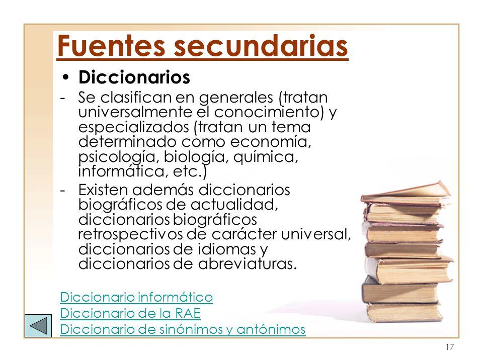 Fuentes secundarias Diccionarios