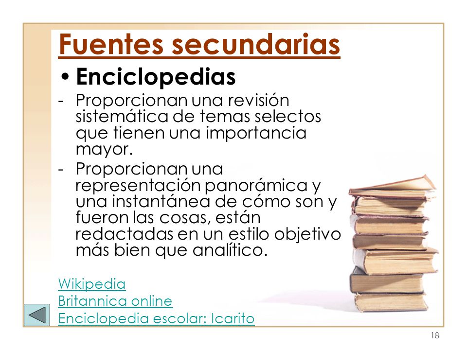 Fuentes secundarias Enciclopedias