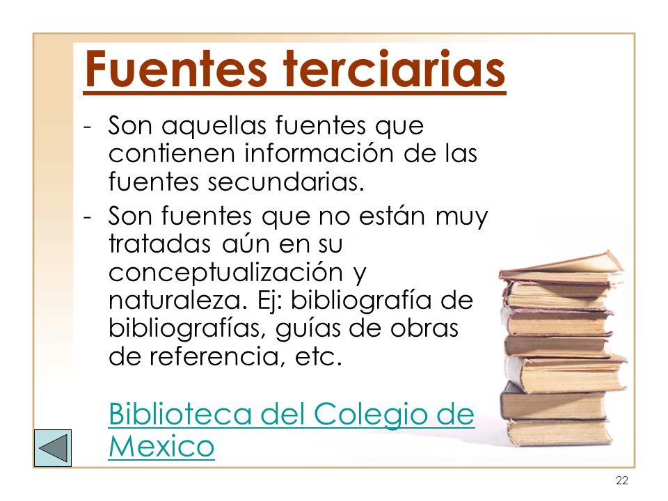 Fuentes terciarias Son aquellas fuentes que contienen información de las fuentes secundarias.