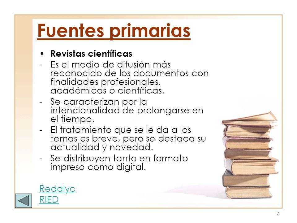 Fuentes primarias Revistas científicas