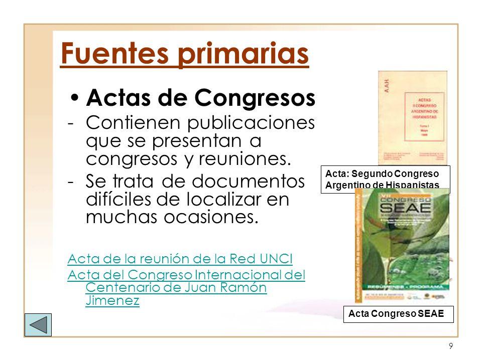 Fuentes primarias Actas de Congresos