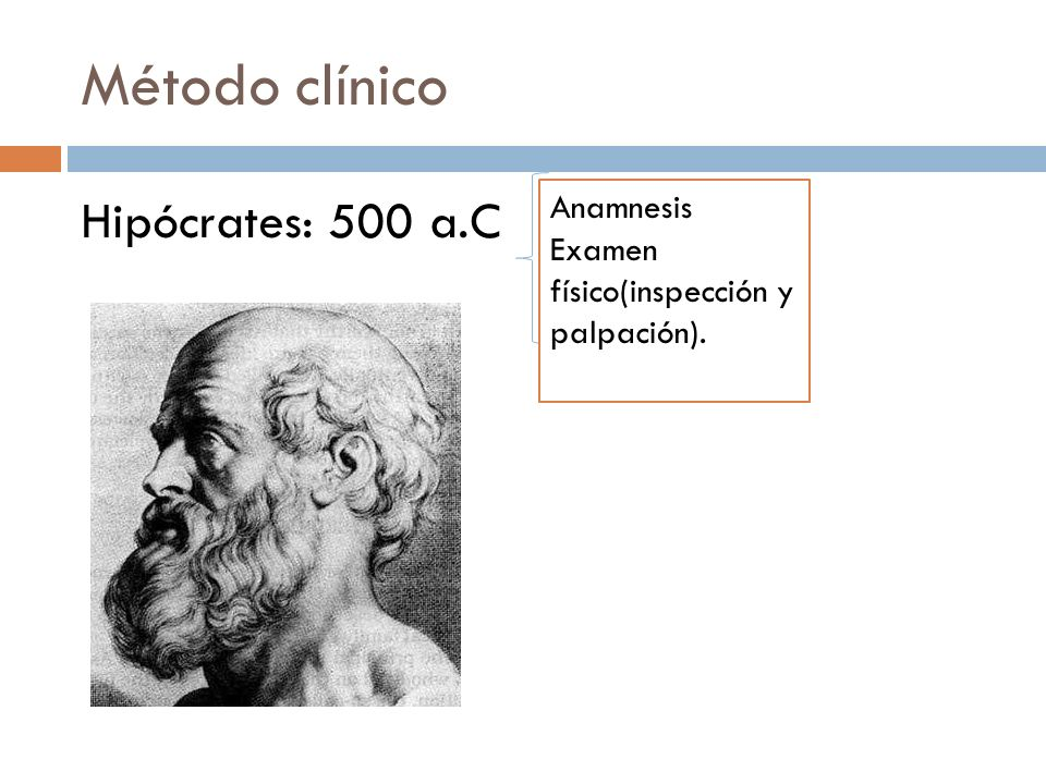 Método clínico Hipócrates: 500 a.C Anamnesis