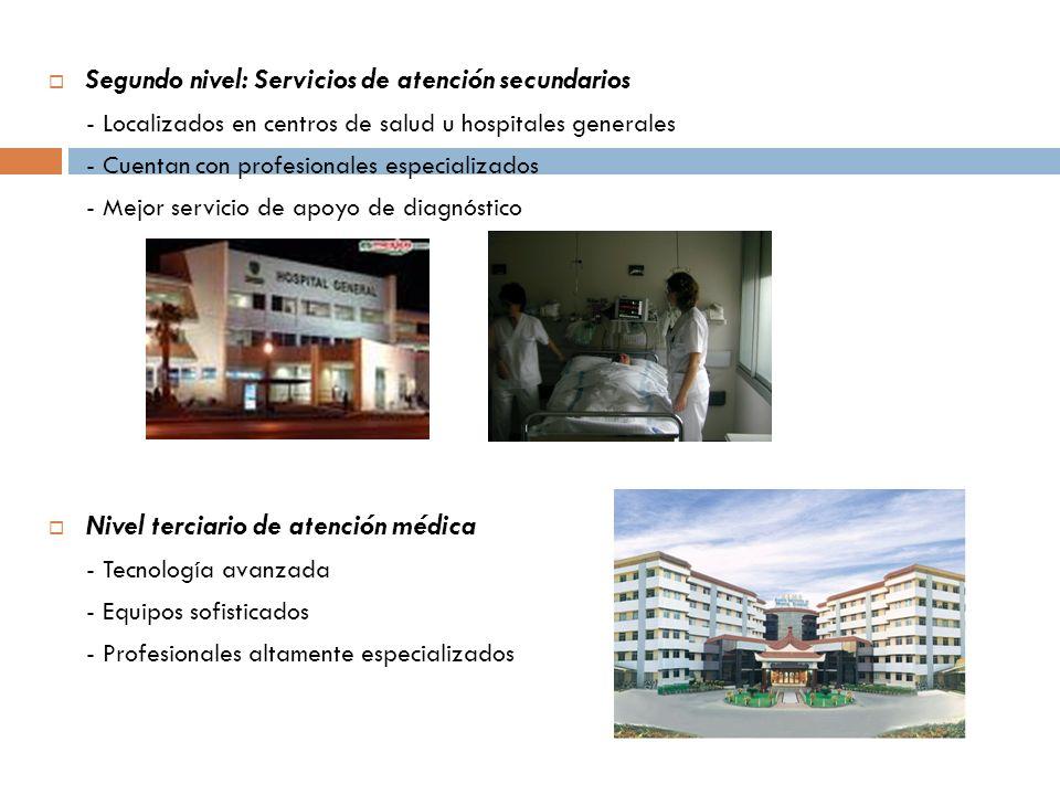 Segundo nivel: Servicios de atención secundarios