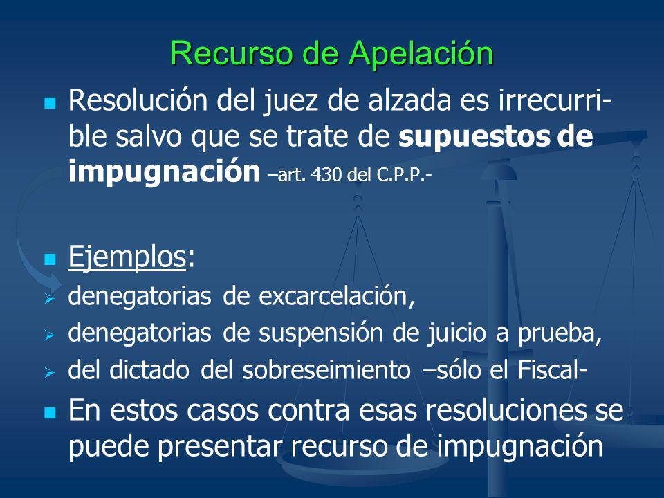Recurso de Apelación Resolución del juez de alzada es irrecurri-ble salvo que se trate de supuestos de impugnación –art. 430 del C.P.P.-