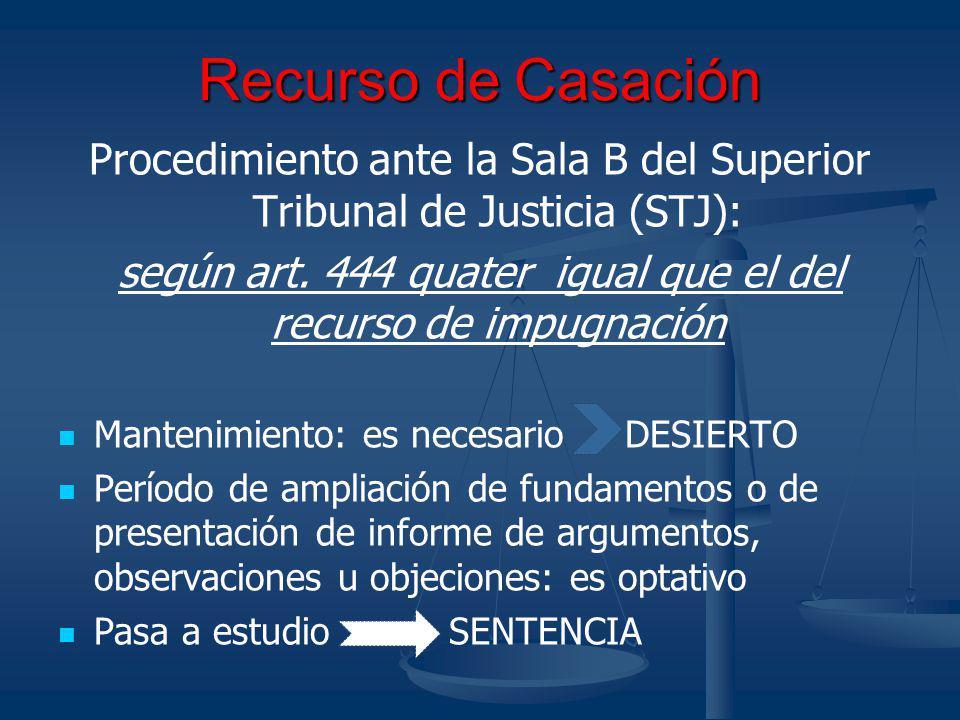 Recurso de Casación Procedimiento ante la Sala B del Superior Tribunal de Justicia (STJ):