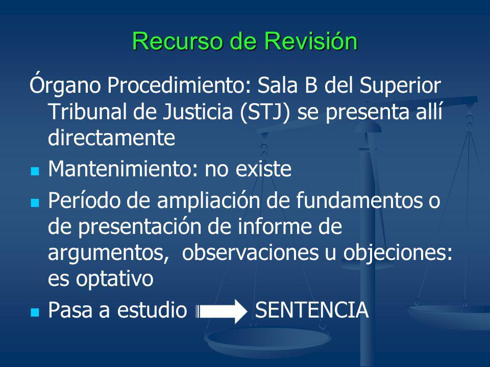 Recurso de Revisión Órgano Procedimiento: Sala B del Superior Tribunal de Justicia (STJ) se presenta allí directamente.