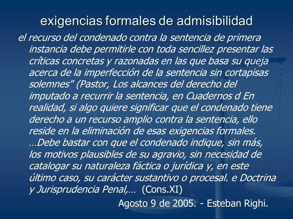 exigencias formales de admisibilidad