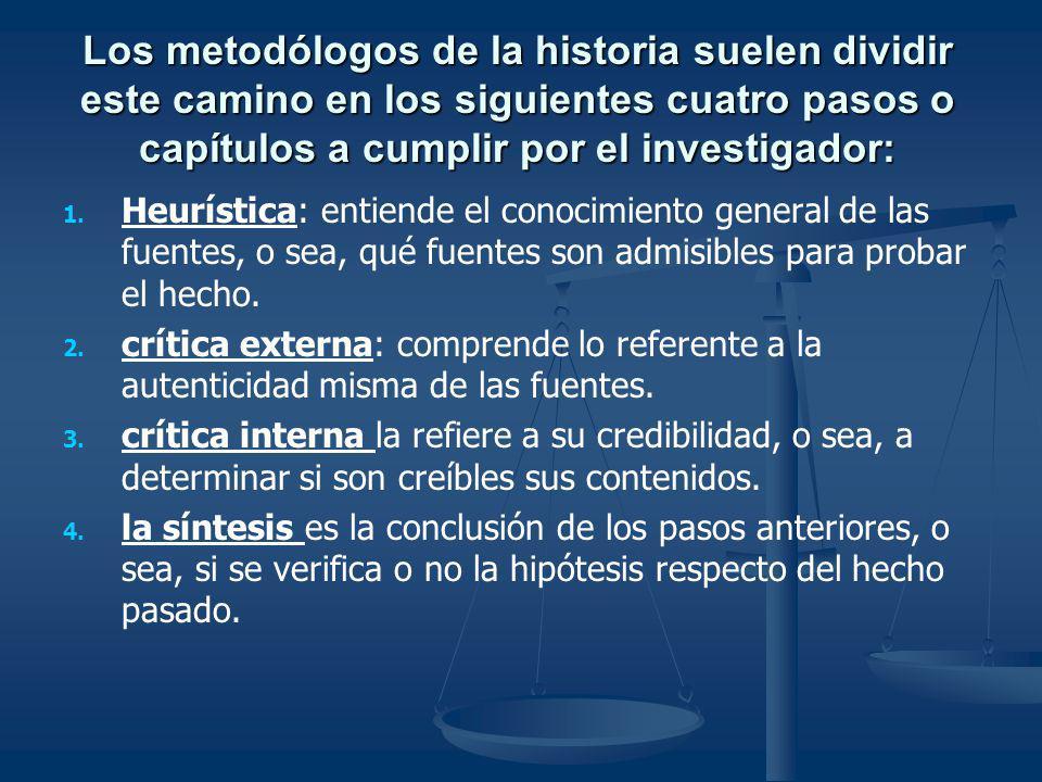 Los metodólogos de la historia suelen dividir este camino en los siguientes cuatro pasos o capítulos a cumplir por el investigador:
