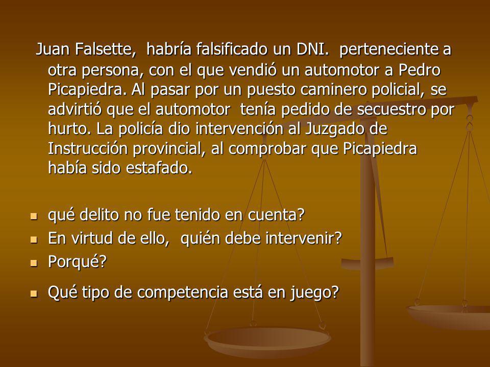 Juan Falsette, habría falsificado un DNI