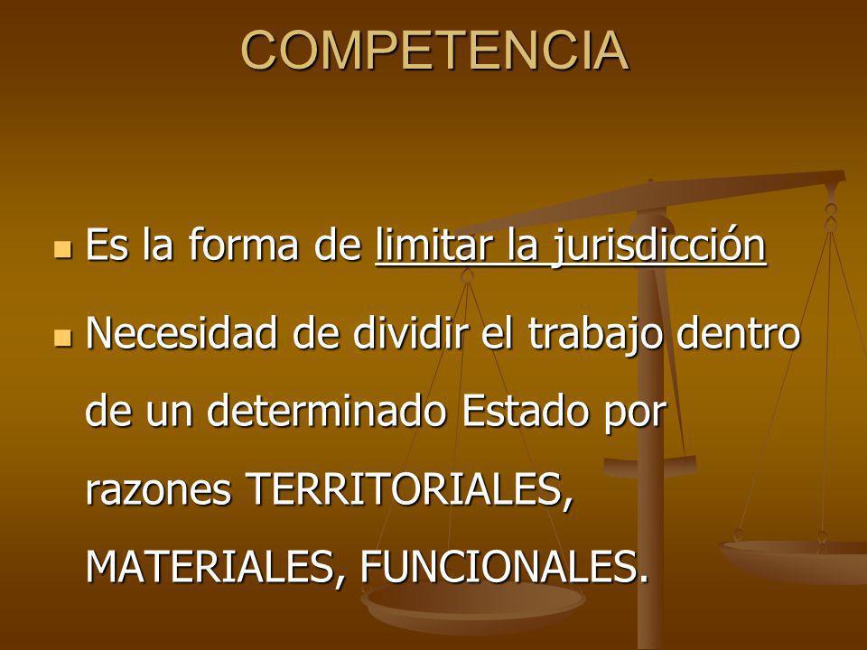 COMPETENCIA Es la forma de limitar la jurisdicción
