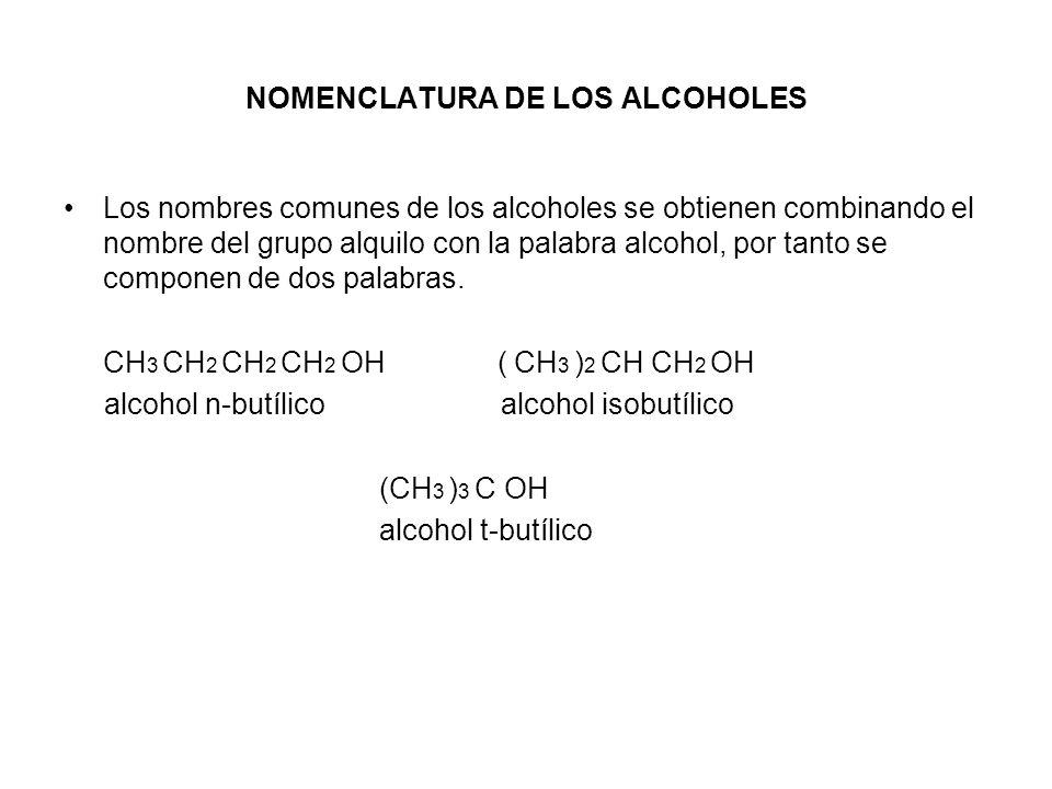 NOMENCLATURA DE LOS ALCOHOLES