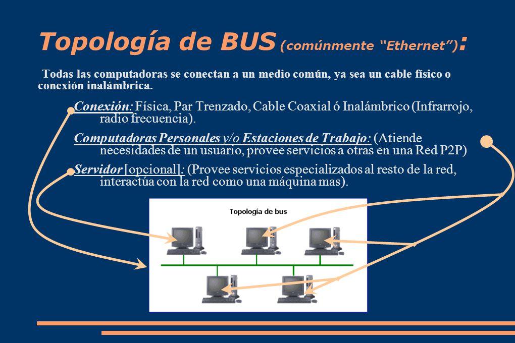 Topología de BUS (comúnmente Ethernet ):