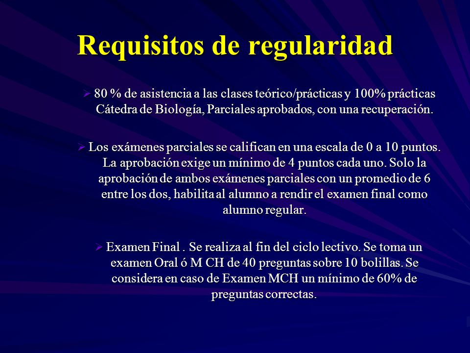 Requisitos de regularidad