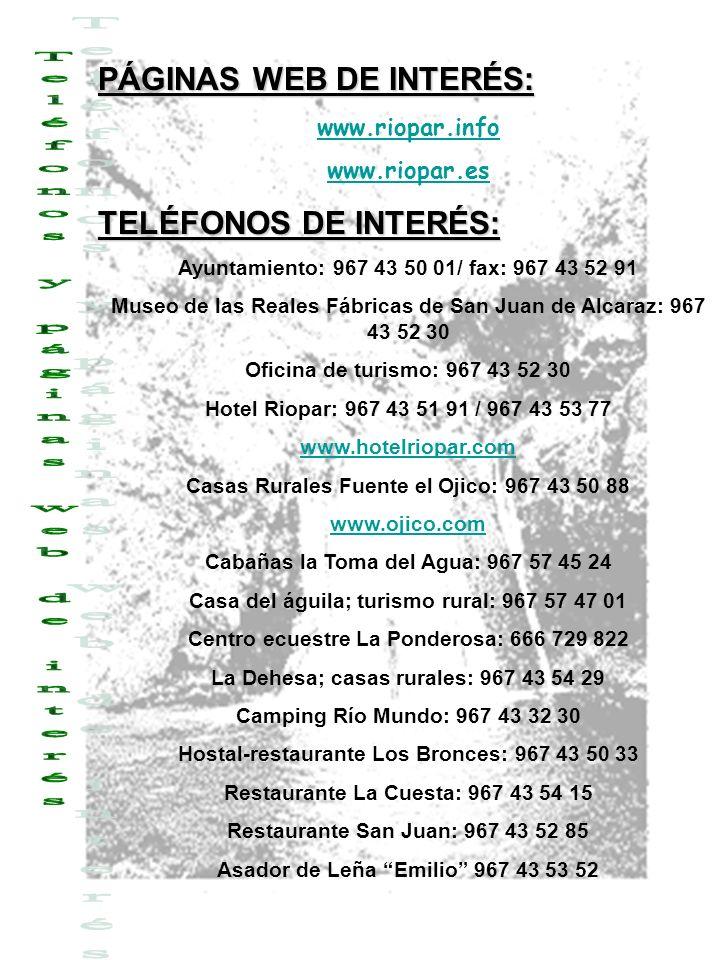 Teléfonos y páginas web de interés