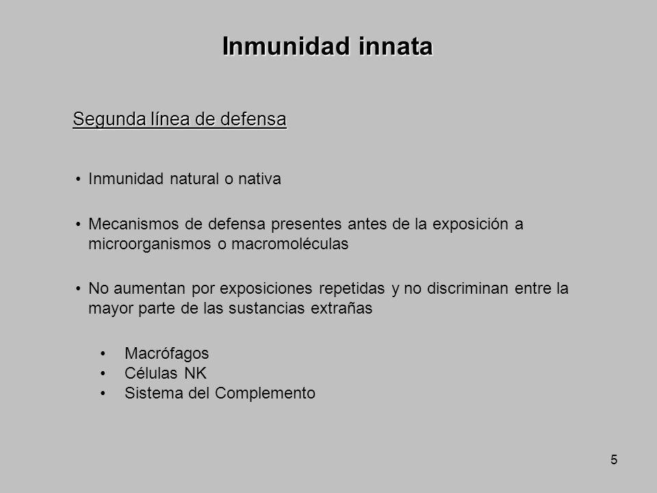 Inmunidad innata Segunda línea de defensa Inmunidad natural o nativa