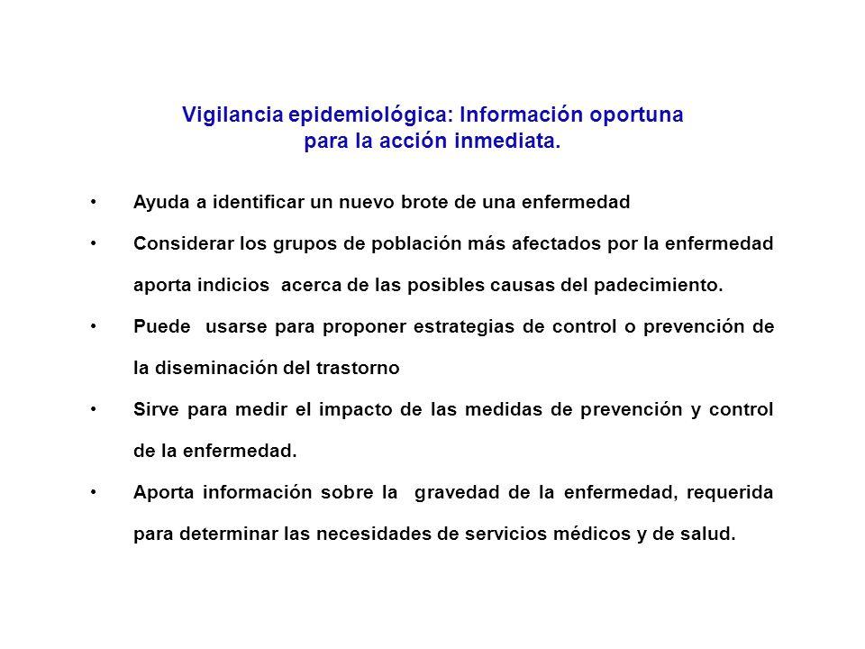 Vigilancia epidemiológica: Información oportuna para la acción inmediata.