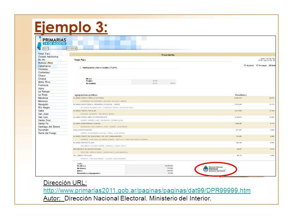 Ejemplo 3: Dirección URL: http://www.primarias2011.gob.ar/paginas/paginas/dat99/DPR99999.htm.