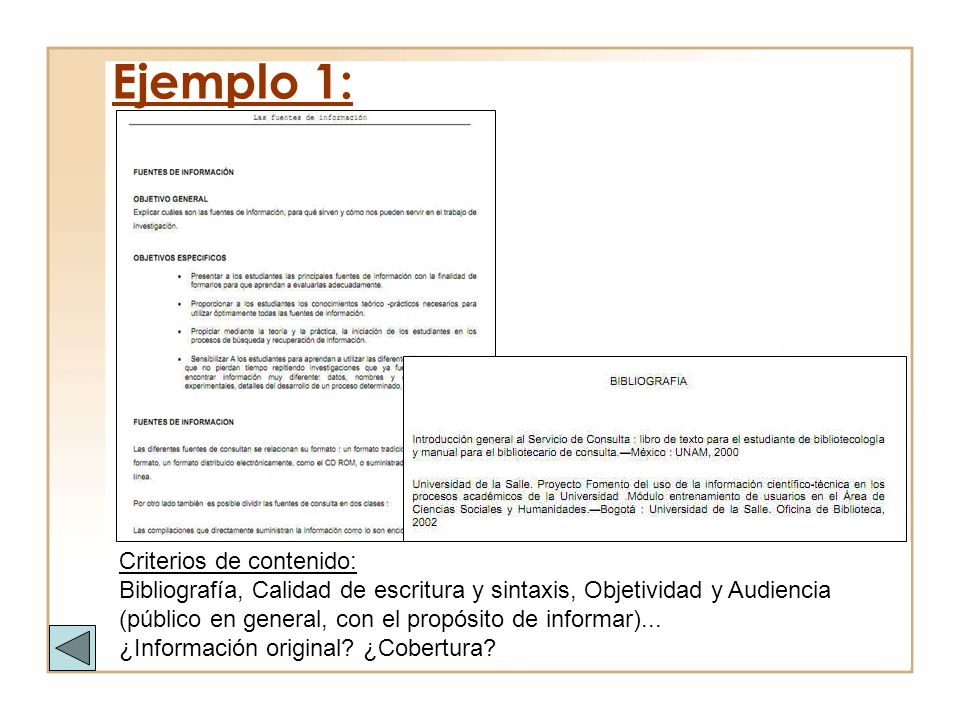 Ejemplo 1: Criterios de contenido:
