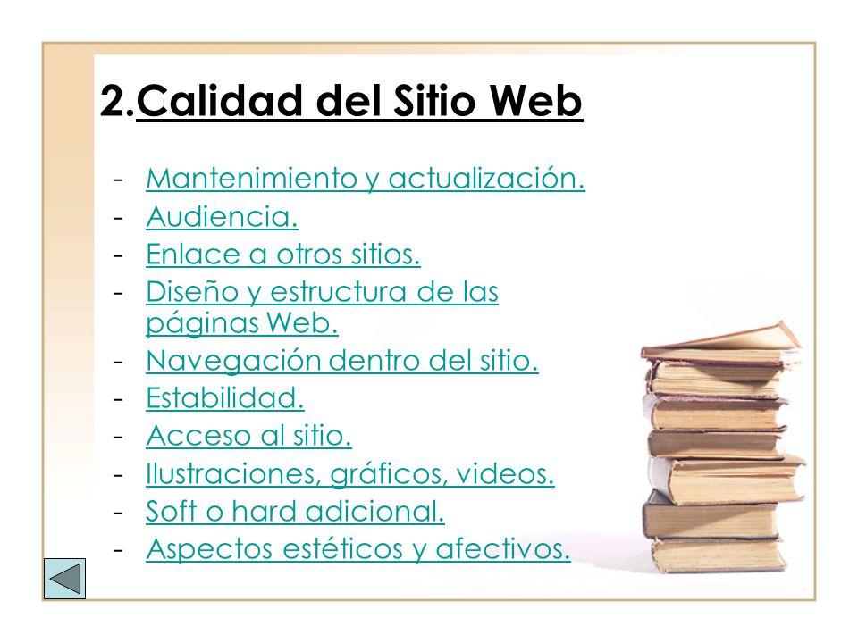2.Calidad del Sitio Web Mantenimiento y actualización. Audiencia.