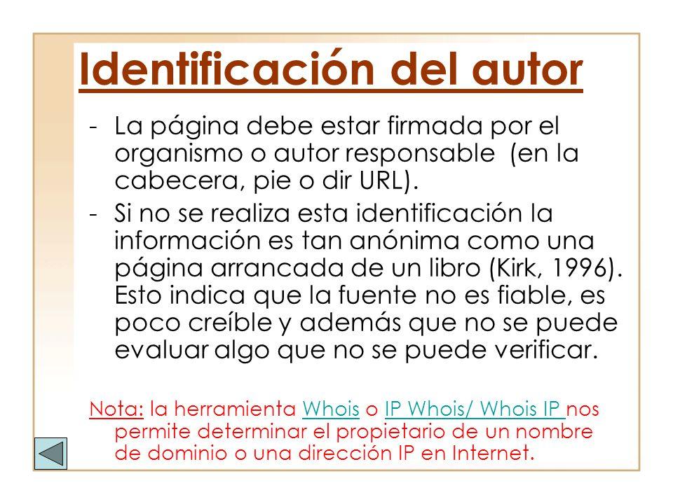 Identificación del autor
