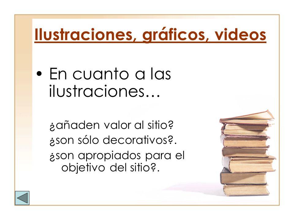 Ilustraciones, gráficos, videos